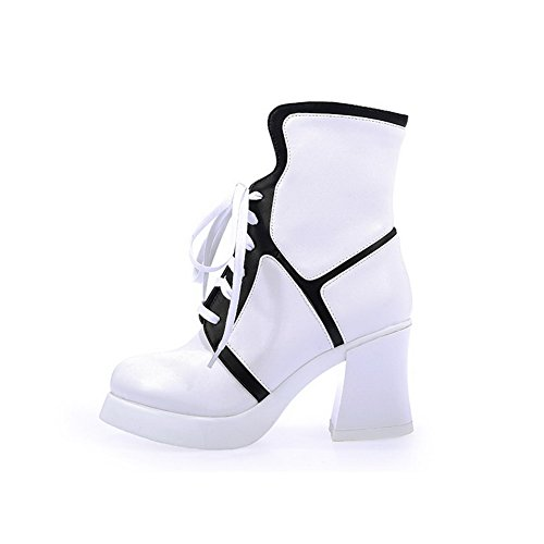 with Chunky Heels High Boots Heels Soles Women's Rubber Closed and Toe AmoonyFashion White vqYTwx