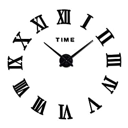Acrylic Mirror Wall Clock DIY Stickers Still Life Clocks Living Room Clocks Home Decoration Modern Quartz Watch,Black,27 Inch