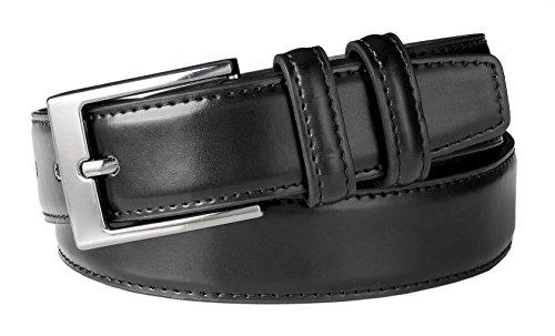 Belted Calfskin Belt (Sportoli Men's Classic Stitched Genuine Leather Dress Uniform Belt - Black (Size)