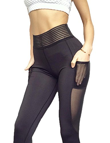 Misscoo High Waist Yoga Pant Power Flex Out Pocket Women's Leggings Workout Running Tummy Control Lace Pants - Key Black Fade High