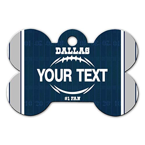 BRGiftShop Personalize Your Own Football Team Dallas Bone Shaped Metal Pet ID Tag with Contact Information
