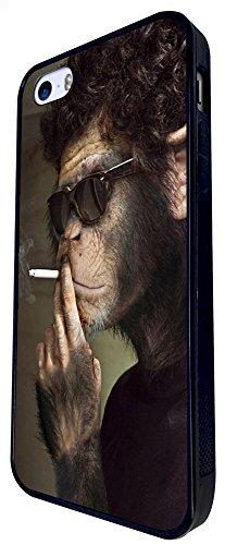 192 - Monkey Smoking Design iphone SE - 2016 Coque Fashion Trend Case Coque Protection Cover plastique et métal - Noir
