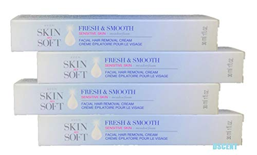 (Avon Skin so Soft Fresh & Smooth Sensitive Skin Facial Hair Removal Cream 1 oz Each. A Lot of 4)