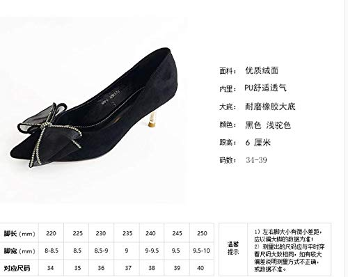 Gauze KPHY With Workplace Shoes Autumn Sweet And Fine Bow Pointed Ladies color High Heel Camel Diamond Tie 6Cm Winter Shoes BBx48wrRq