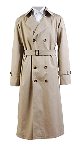Supernatural Costume Angel Castiel Coat Beige Trench Jacket Cosplay for Adult XL