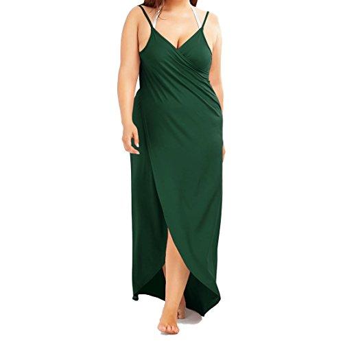 Longue Robe De Plage Lâche, Femmes Imprimé Floral Profond Col V Taille Haute Backless Une Ligne Courte Robe À Manches Longues, Taille Plus Verte De L'armée