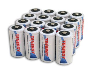 16 pcs of Tenergy Premium C Size 5000 mAh high capacity High Rate NiMH Rechargeable Batteries by Tenergy
