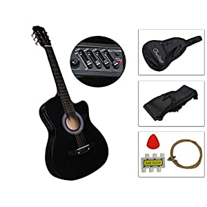 Fashion Black Acoustic Electric Guitar Best 2015 Design W/ Guitar Case Strap Tuner New