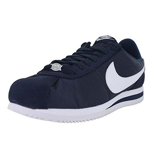 Nike Men Cortez Basic Nylon (Navy/Obsidian/White/Metallic Silver) Size 11 US