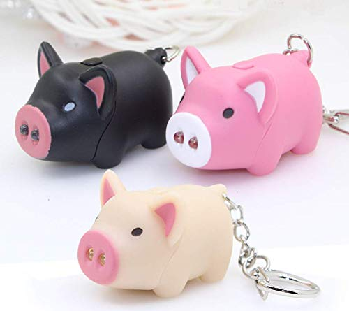 Astra Gourmet 3pcs/lot Cartoon Oink Piggy Light & Sound Keychains - Little Piggy Design Led Keychains with Flashlight (Pink, Beige, Black)