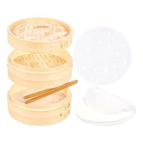 Bun Basket (8-Inch Bamboo Steamer Set - Includes Bamboo Steamer Basket, Bamboo Tong and 30 Perforated Parchment Liners - Great for Dim Sum, Buns, Dumplings, Vegetables, Fish)