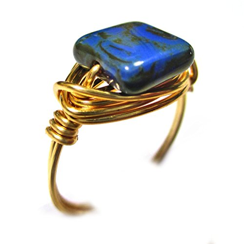 Blue Moon Czech Art Glass Gold Wire Wrapped Ring