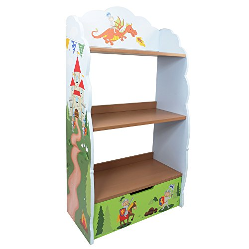 Teamson Cabinet (Fantasy Fields - Knights & Dragon Thematic Kids Wooden Bookcase with Storage | Imagination Inspiring Hand Crafted & Hand Painted Details | Non-Toxic, Lead Free Water-based Paint)