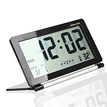 Tzou Multifunction Silent LCD Digital Large Screen Travel Desk Electronic Alarm Clock, Date/Time/Calendar/Temperature Display, Snooze, Folding -