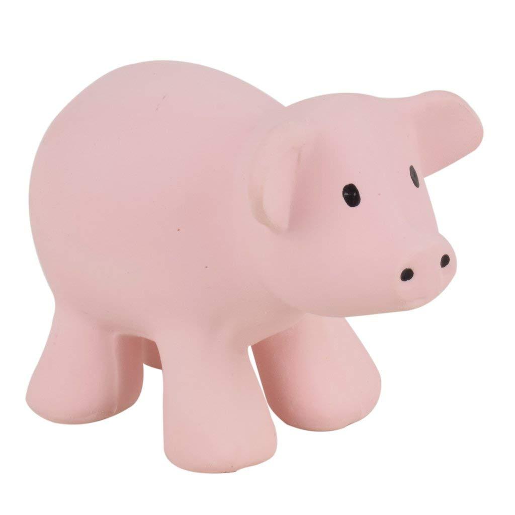 Tikiri 96001 Baby Rassel Greifling Aus Naturkautschuk Bauernhoftier Schwein