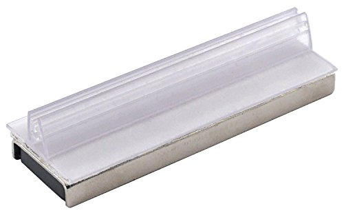 "Master Magnetics MSHC12X25 Magnetic Sign Holder, Retail EZ Grip Holder/Powerful Magnet, 3"" Length, 1"" Width, 0.75"" Total Height, Silver and Clear (Pack of 25)"
