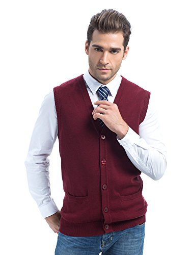 CHOiES record your inspired fashion Choies Men's Burgundy Plain V-Neck Button Down Knitted Slim Thin Pullover Vest XL