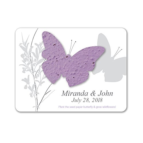 Bloomin Plantable Butterfly Wedding Favor with Seed Paper - Lavender (25 Card ()