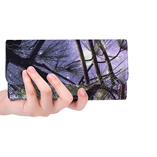 Unique Custom Starry Sky Pine Cones Pine Tap Conifer Tree Women Trifold Wallet Long Purse Credit Card Holder Case Handbag