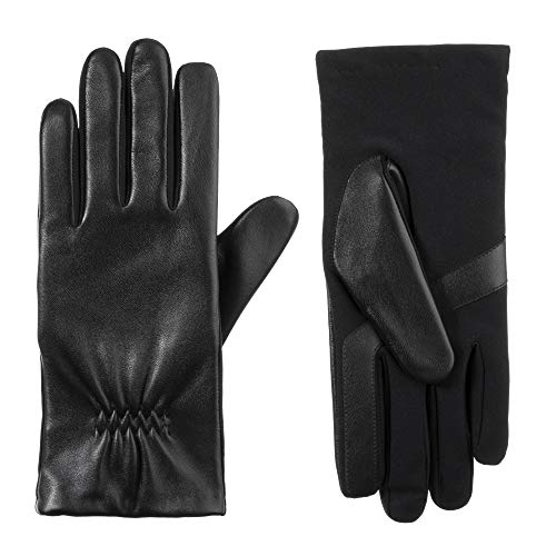 isotoner Women's Classic Stretch Leather Touchscreen Cold Weather Gloves, Fleece Lining