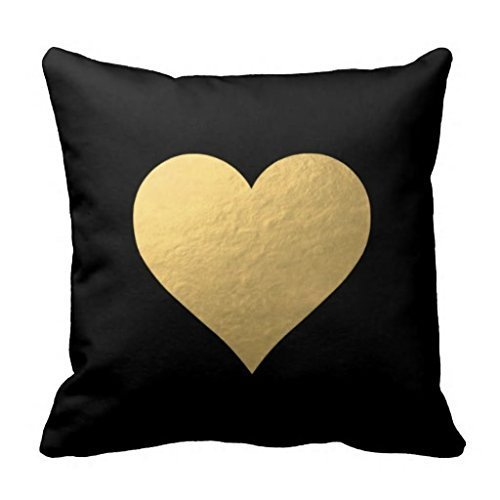 YOUHOME Black Gold Heart Decorative Throw Pillow Case Cushion Cover 18