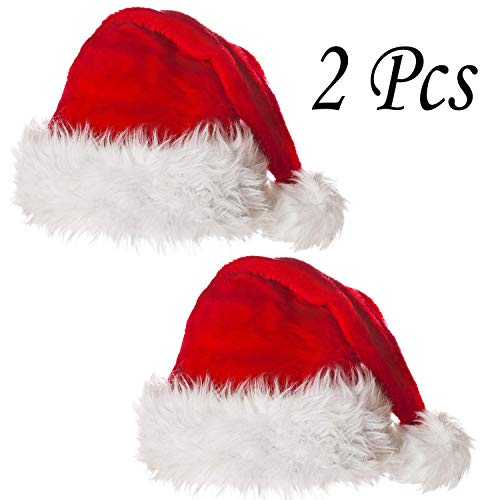 Turelifes 2 Pack Christmas Hats High Grade Plush Thick Red Velvet Santa Hats with White Cuffs for Adults and Children