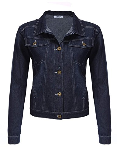 Zeagoo Women's Short Cropped Denim Jacket Button Front Long Sleeves Jean Jackets(Dark - Front Jacket Short Button