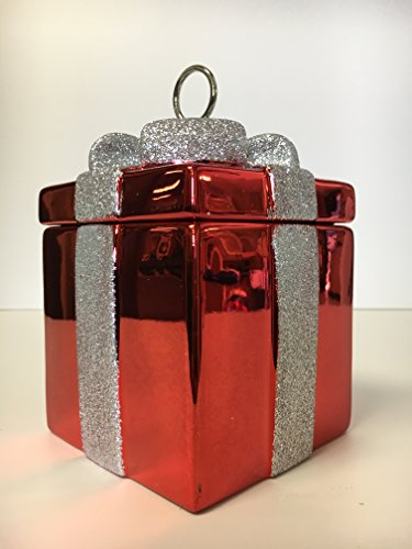 Red present with sparkly silver bow holiday candy dish
