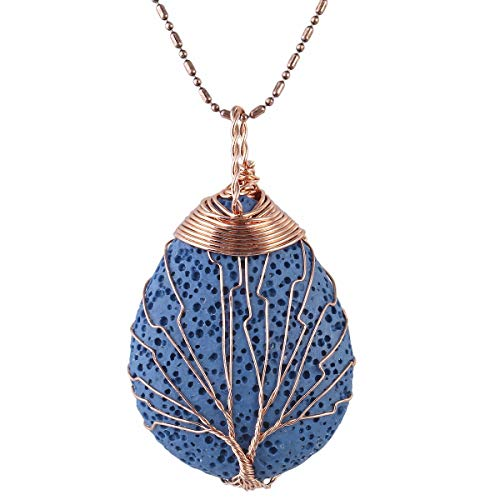 (TUMBEELLUWA Tree of Life Pendant Necklace, Healing Crystals Jewelry for Women,Blue Lava)