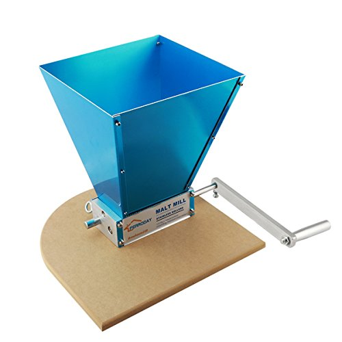 Ferroday Malt Crusher Stainless 2 Roller Malt Mill Homebrew Grain Crusher Manual Adjustable Barley Grinder With Wooden Base (medium)
