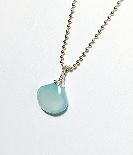 Aqua Blue Chalcedony Necklace .925 Sterling Silver Pendant Length 16