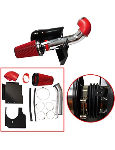 BLACKHORSE-RACING 4″ Cold Air Intake System Kit + Heat Shield GMC Chevy Chevrolet 1999 2000 2001 2002 2003 2004 2005 2006 V8 4.8L/5.3L/6.0L(Red)