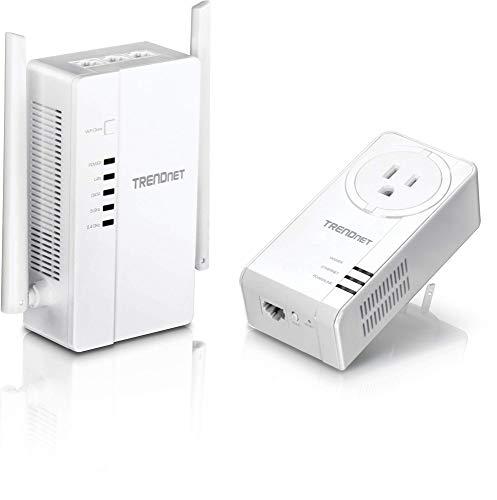 TRENDnet Wi-Fi Everywhere Powerline 1200 AV2 Dual-Band AC1200 Wireless Access Point Kit, Includes 1 x TPL-430AP and 1 x TPL-423E, White, TPL-430APK from TRENDnet
