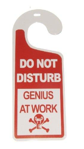 Amazon Com Do Not Disturb Genius At Work Tin Door Knob Hanger For