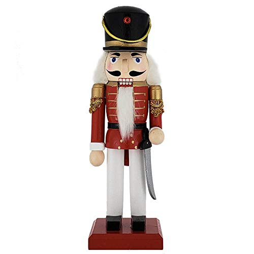 (Christmas Holiday Wooden Nutcracker Figure Soldier Doll with Traditional Red Jacket Uniform with Gold Details, Large, 10 Inch)