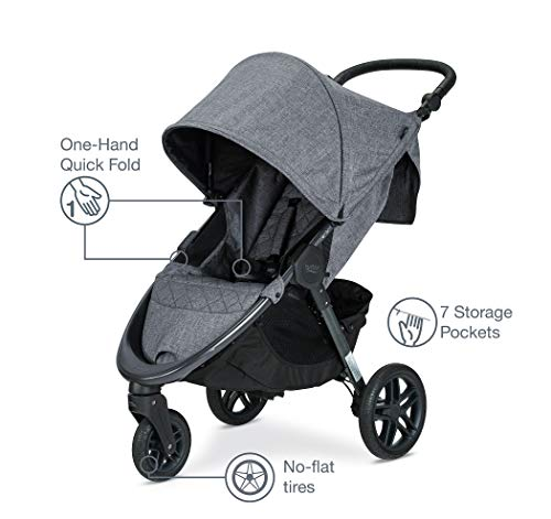41R7etswrcL - Britax B-Free Travel System With B-Safe Ultra Infant Car Seat - Birth To 65 Pounds | All Terrain Tires + Adjustable Handlebar + Extra Storage With Front Access + One Hand, Easy Fold, Vibe