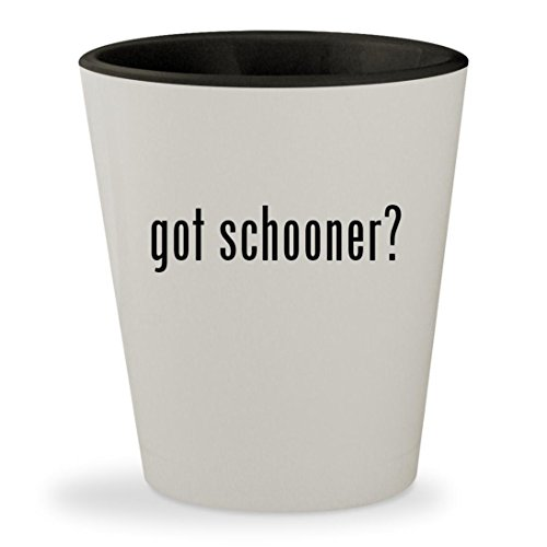 got schooner? - White Outer & Black Inner Ceramic 1.5oz Shot Glass (Athena Pub Set)
