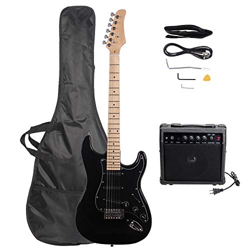 LAGRIMA 39″ Full Size Beginner Electric Guitar Starter Kit with Amplifier, Power Cord, Guitar Bag, Shoulder Strap and Plectrum (Black)