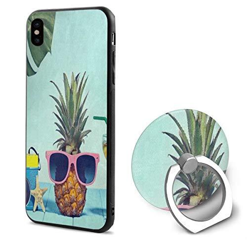 iPhone X Case Retro Camera Pineapple Fruit Starfish Tropical Leaves iPhone X Mobile Phone Shell Ring BracketFantastic -