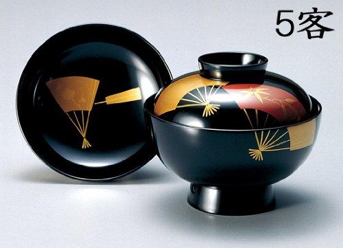 越前漆器 吸物椀 黒 扇面 5客 (木製 漆塗 うるし塗)802302   B00HZUZ0WQ