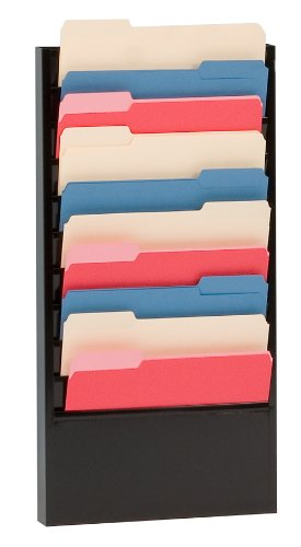 Durham 406-08 Black Cold Rolled Steel 10 Large Pocket Forms Literature Rack, 13-1/4