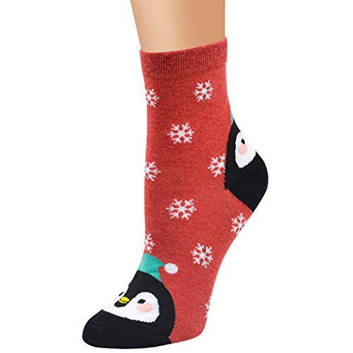 Aimik Ladies Festive Christmas Socks, Fashion Cartoon Three-Dimensional Cute Christmas Stockings Winter Soft Warm Socks Best Gift for Women and Girls (Red)