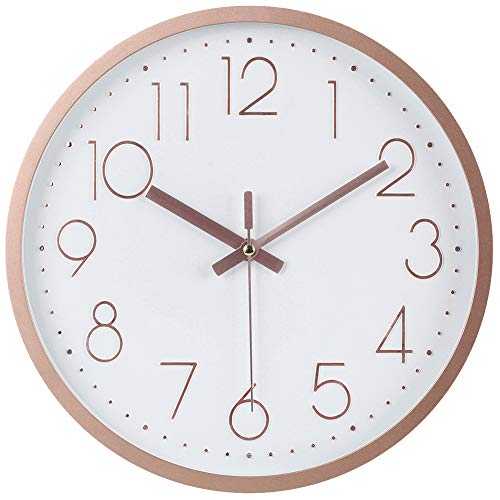 JoFomp Modern Wall Clock, Upgrade Silent Wall Clocks Battery Operated Non-Ticking Quiet Decorative Wall Clocks for Living Room, Bathroom, Kitchen - Thicken Plastics Frame Glass Cover (Rose Gold)