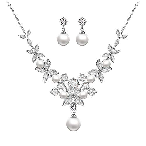 - Menton Ezil Zirconia Crystal Freshwater Cultured Pearl Necklace Earrings Sterling Silver Bridal Wedding Jewelry Set for Women