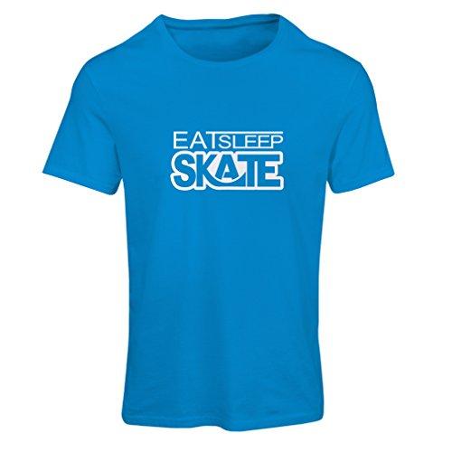 T Shirts for Men Eat Sleep Skate - for Skaters, Skate Longboard, Skateboard Gifts (X-Large Blue White)