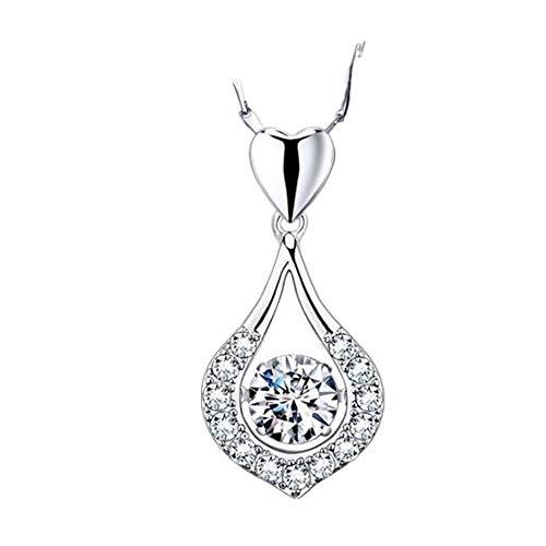 (Muranba 2019 ! Women Twinkling Heart Waterdrop Stone Necklace Pendant Necklace White)
