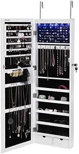 SONGMICS 6 LEDs Jewelry Cabinet Lockable Wall/Door Mounted Jewelry Armoire Organizer with Mirror 2 Drawers White UJJC93W