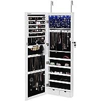 SONGMICS 6 LEDs Jewelry Cabinet Lockable Wall/Door...