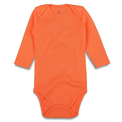 - ROMPERINBOX Unisex Solid Baby Bodysuit 0-24 Months (6-9 Months, Orange Long Sleeve)