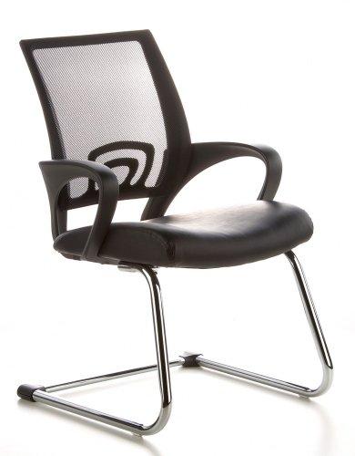 Konferenzstuhl / Freischwinger / Stuhl VISTO NET V Netzstoff schwarz Chrom hjh OFFICE